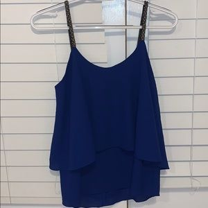 Royal blue tank with jeweled straps